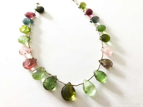 Multi Tourmaline Faceted Tear Drop Briolettes (MULTIPLE SIZES)