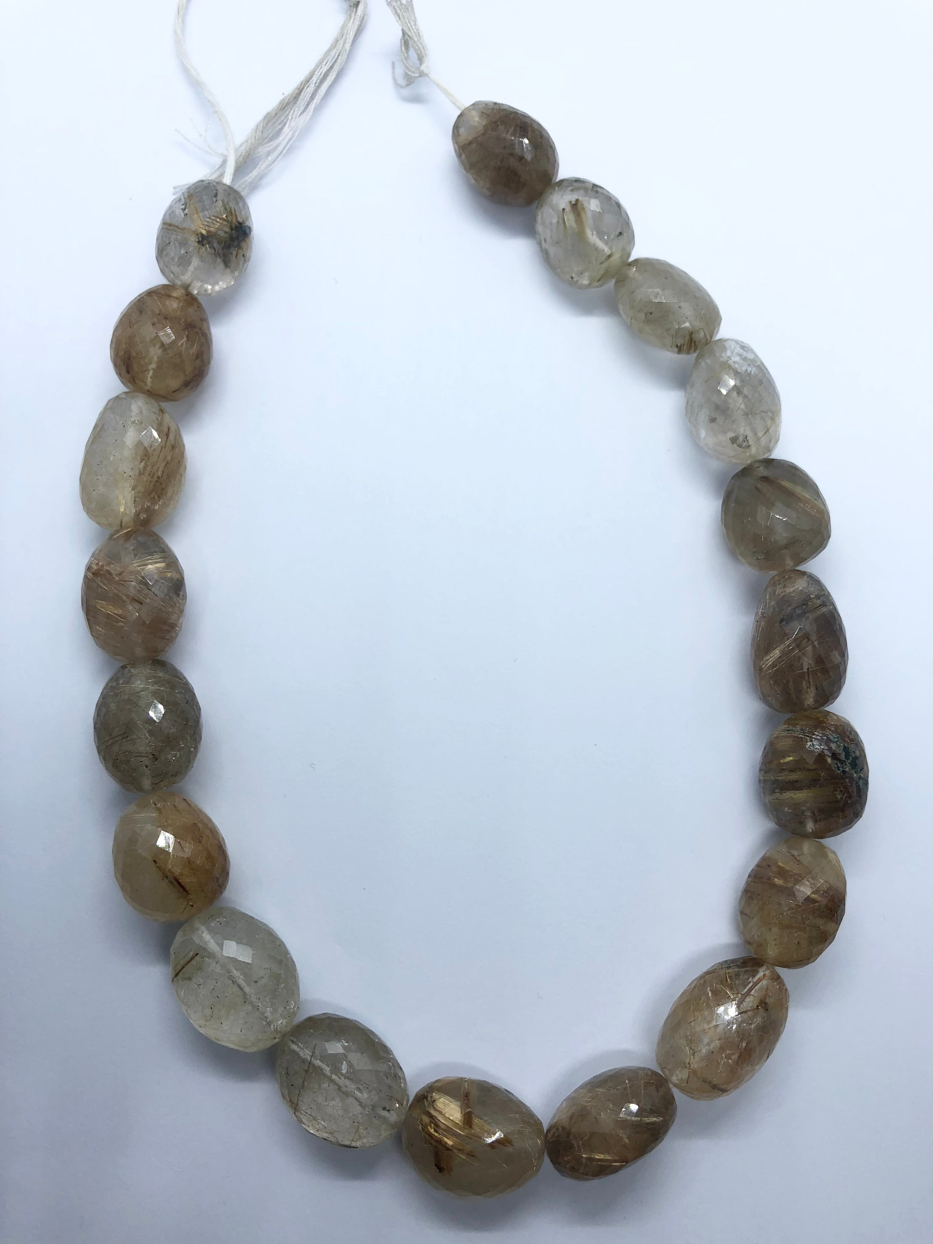 Rutilated faceted nugget shape beads