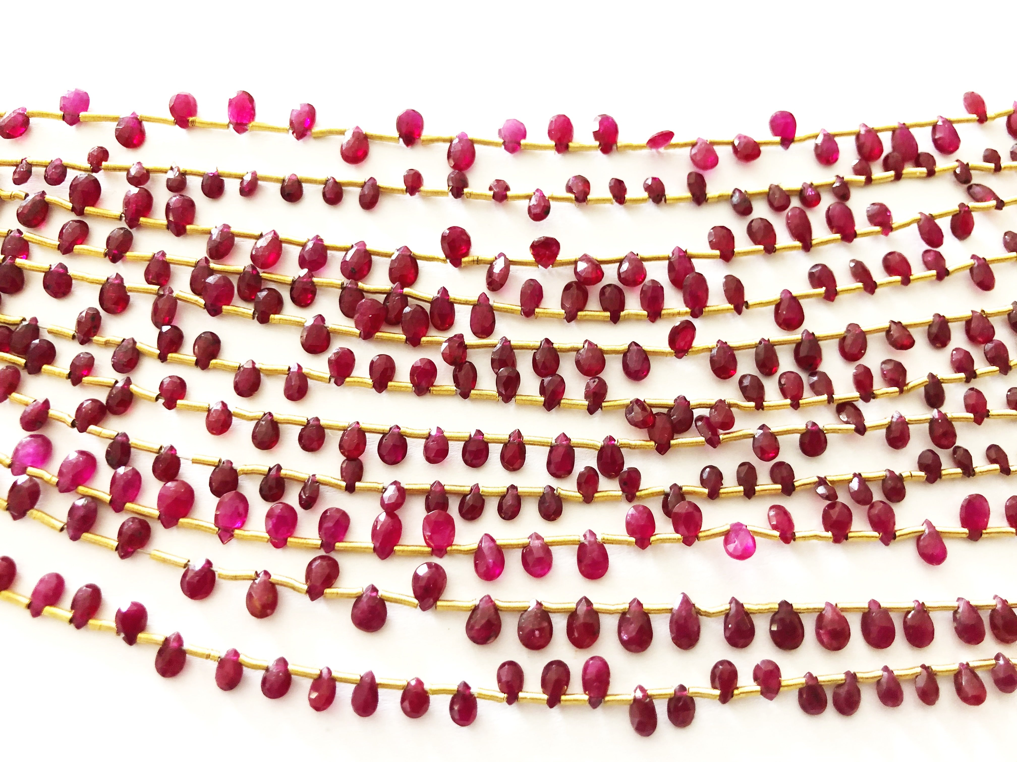 Ruby Facted Tear Drop BRIOLETTES (MULTIPLE SIZES)