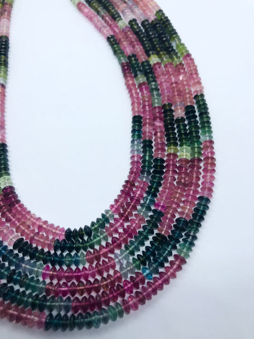 Watermelon Tourmaline Smooth Flat shape beads 5 MM