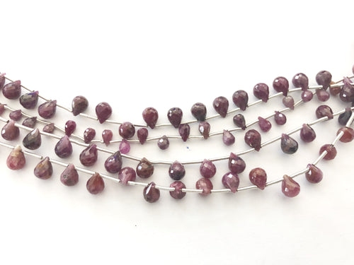 Indian Ruby Faceted Round Bottom Briolettes (MULTIPLE SIZES)