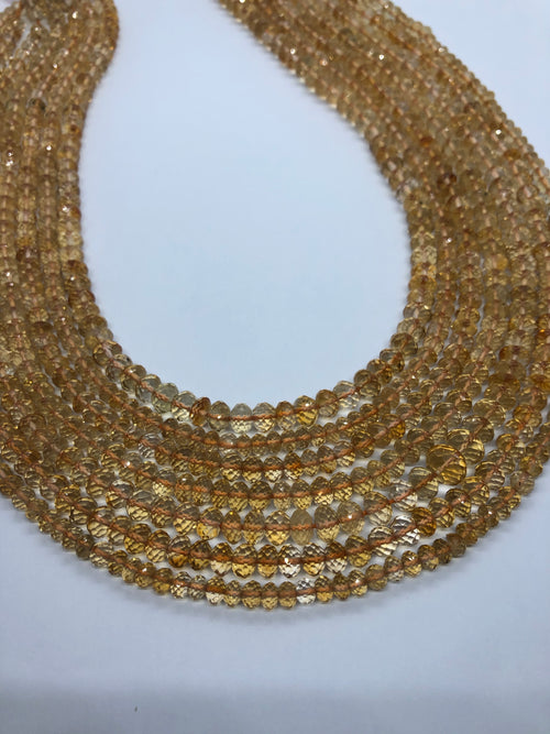 Citrine faceted Roundel shape beads 5-6MM