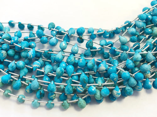 Turquoise Faceted Round Bottom Briolettes (MULTIPLE SIZES)
