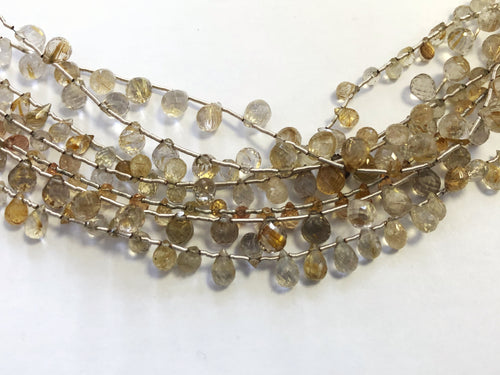 Rutilated Quartz Faceted Round Bottom Briolettes (MULTIPLE SIZES)