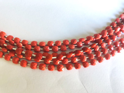 Red Coral Baked 4MM  Faceted Checker (MULTIPLE SIZES)
