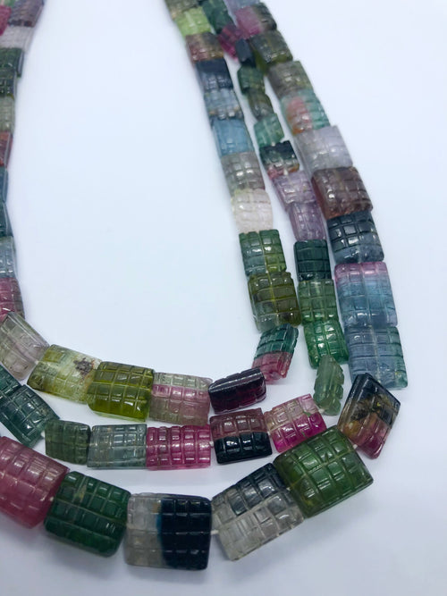 Watermelon Tourmaline Faceted Rectangle shape beads 9x12 MM