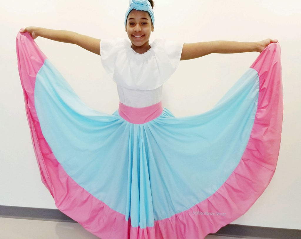 Bombazo Wear® Light Blue & Pink Childrens Skirt