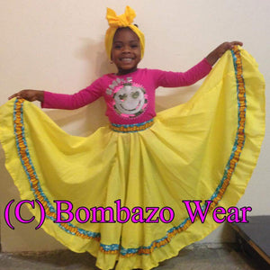 Yellow Child Bomba Caribbean Skirt