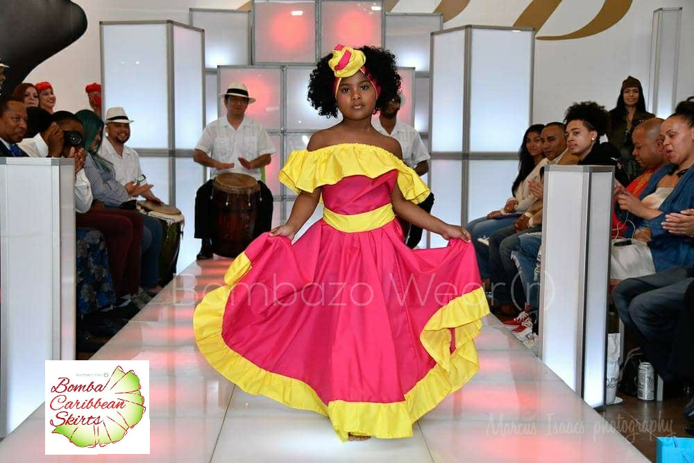 Child Pink and Yellow Bomba Caribbean Skirt
