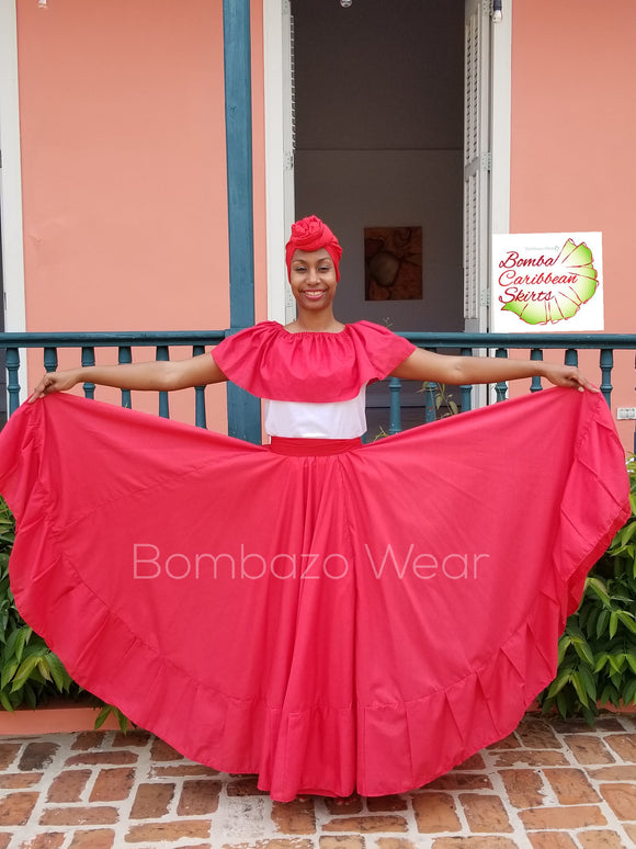 Red  Bomba/ Caribbean Skirt