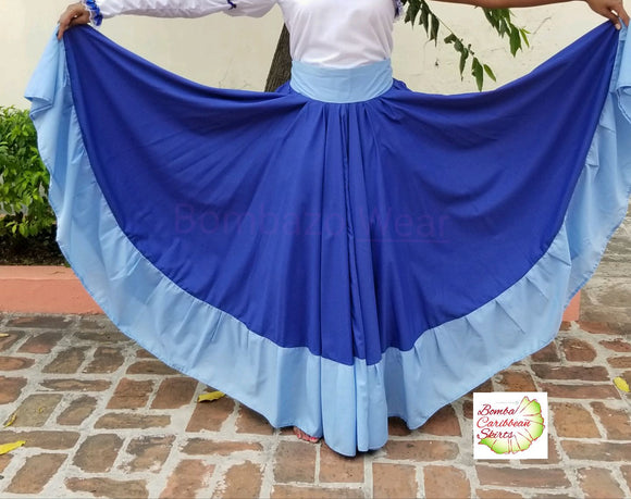 Dark and Light Blue Bomba Caribbean Dance Skirt