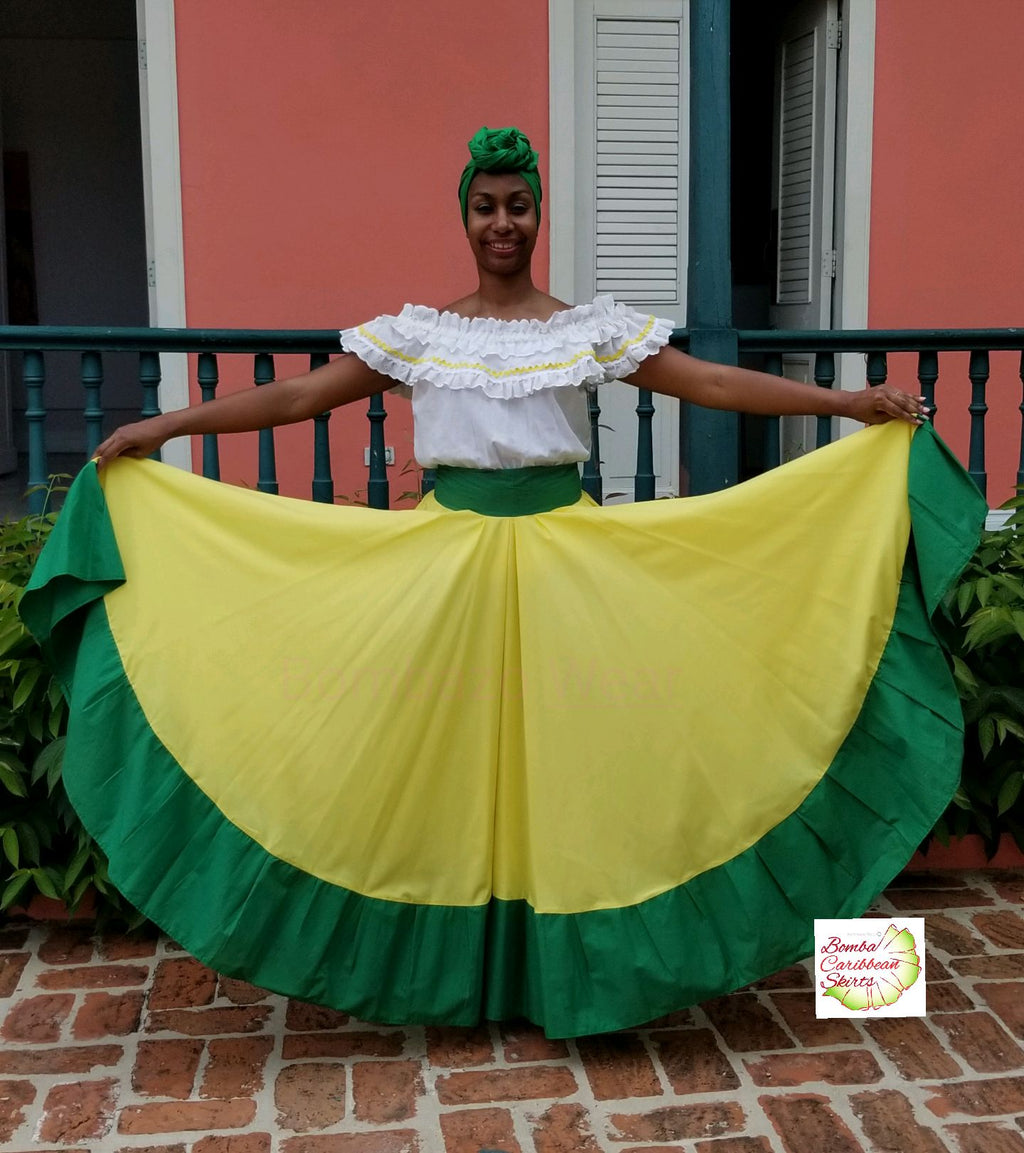 Yellow & Green Bomba Caribbean Dance Skirt