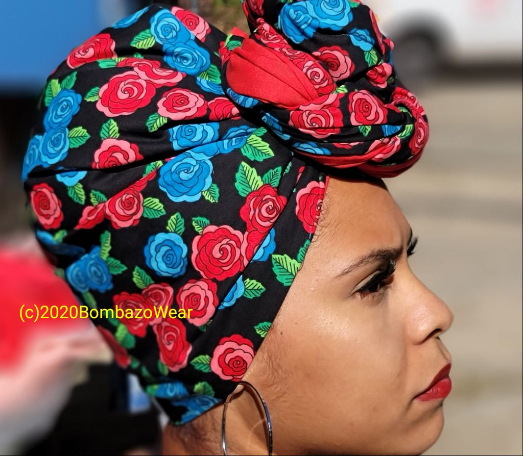 Floral Frida w/ Red Double headwrap combo