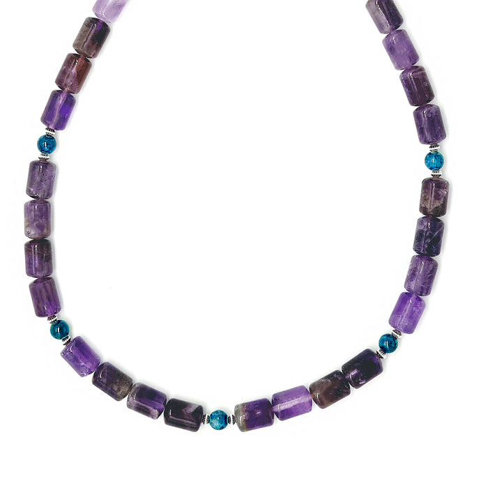 Apatite and Amethyst beaded necklace