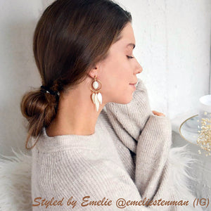 Gold filled and Mother of Pearl chandelier earrings (4054384476246)