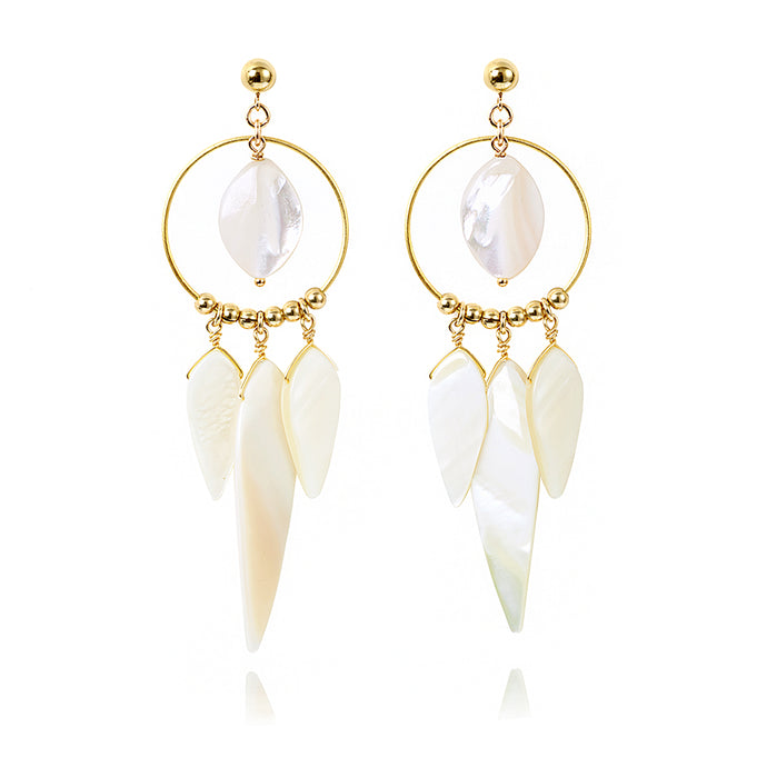 Gold and White Mother of Pearl chandelier earrings