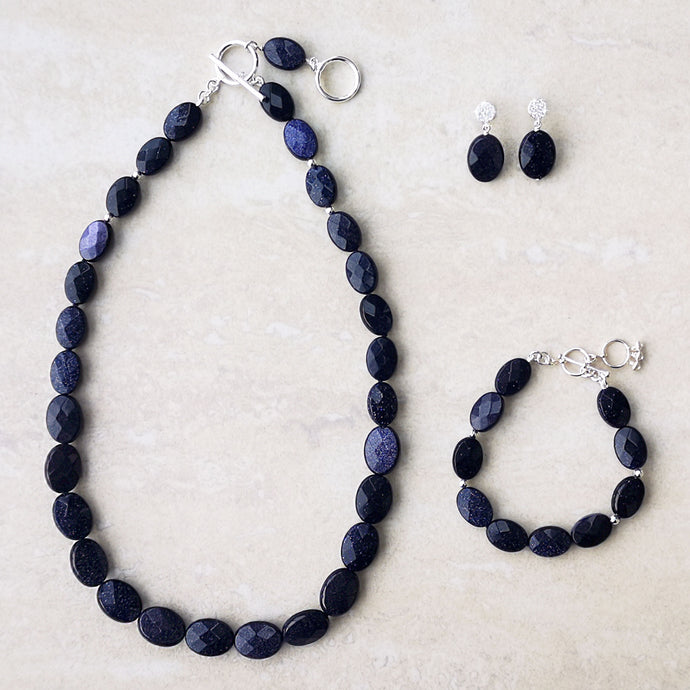 Aster - Blue Goldstone jewellery set (4348988620886)