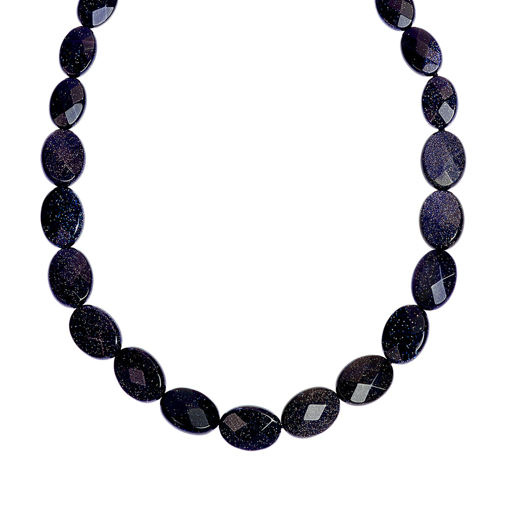 Blue goldstone necklace (4051216760918)