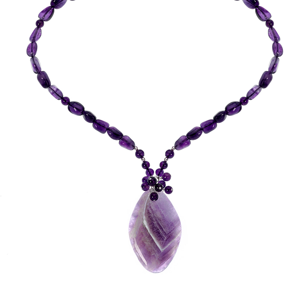 Long Amethyst necklace with amethyst pendant (4051565871190)