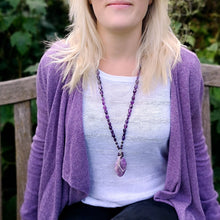 Amethyst long necklace with pendant (4051565871190)