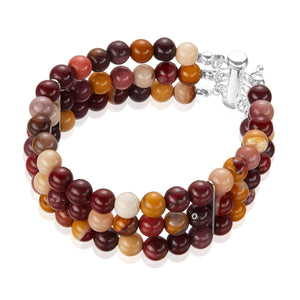 colourful and sleek three row bracelet of semi-precious Mookaite gemstones.