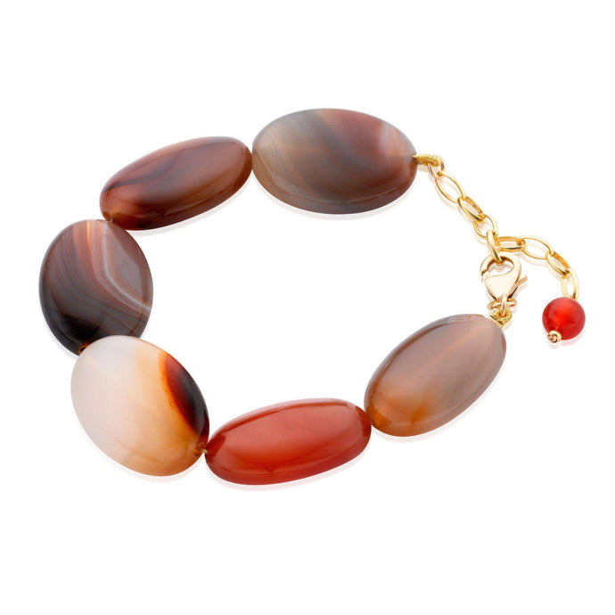Bold, yet elegant handmade bracelet that shows off beautifully the natural markings of the Brazilian Agate. (1442220736624)
