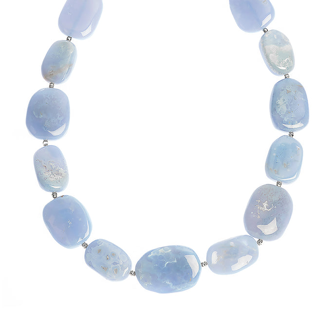 Chunky Agate necklace - Blue lace Agate stones (4050752798806)