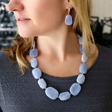 Bellflower jewellery set. Blue lace Agate necklace and earrings. (4372930691158)