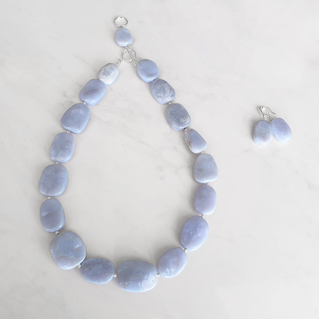 Bellflower jewellery set - Blue lace Agate necklace and earrings (4372930691158)