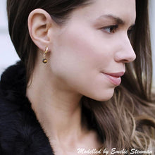 Tigers Eye and gold huggie hoop earrings - Caroline