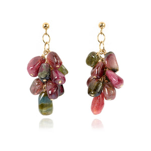 Gold and Tourmaline cluster earrings (4054571581526)