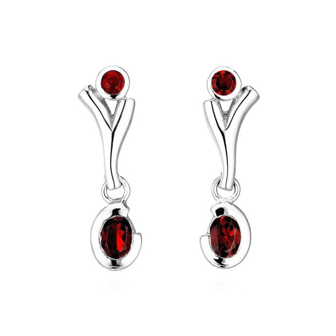 Stylish 925 Sterling silver drop earrings, beautifully complemented by Garnet gemstones. (578122252299)