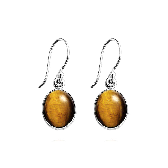 Simple Tiger's Eye gemstone drop earrings (578254798859)