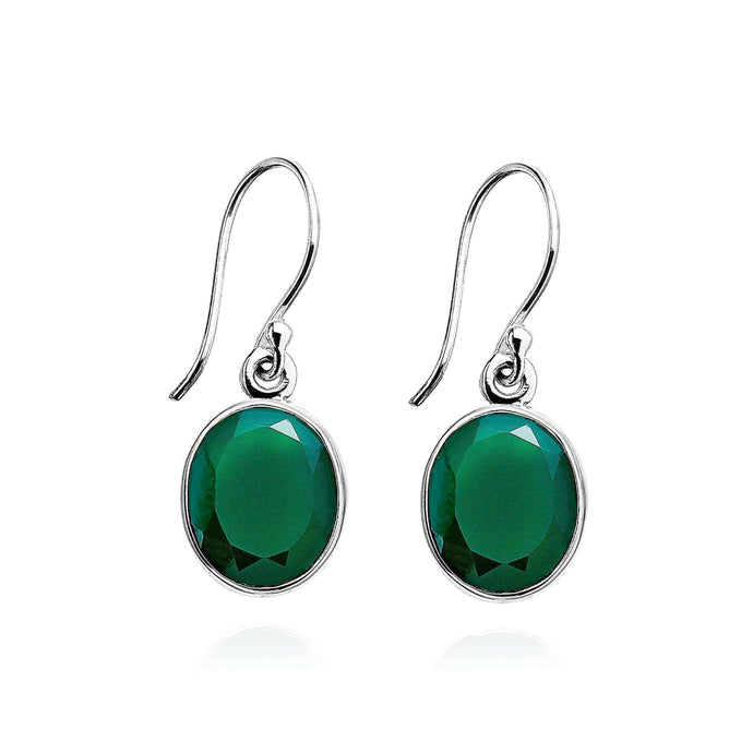 A simple design, which exhibit deep rich green Agate gemstones, crafted into smooth sterling silver settings. (578526052363)