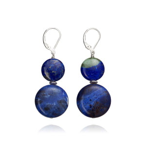 Sodalite and Lapis Lazuli earrings on 925 Sterling Silver.