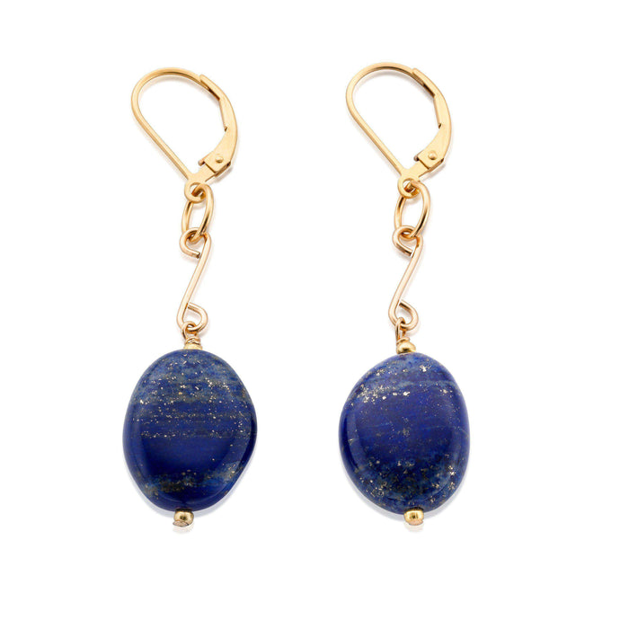 Vibrant, ultramarine Lapis Lazuli earrings, perfectly complemented by gold settings - 18ct yellow gold on 925 Sterling Silver - also know as Vermeil.