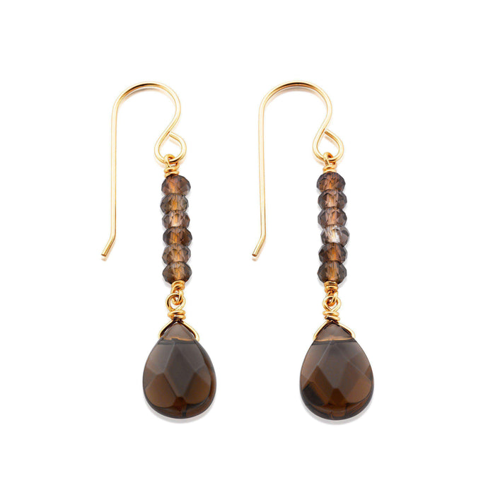 Sleek and elegant drop earrings made of faceted Smoky Quartz gemstones on Gold filled settings.