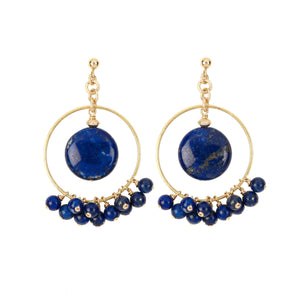 Modern and fun chandelier earrings made of Lapis Lazuli gemstones on Vermeil settings. (2020900962390)