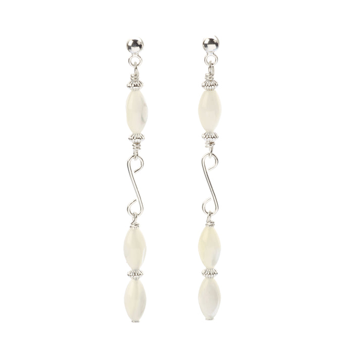 Sleek Mother of Pearls long drop earrings, on 925 Sterling Silver settings.