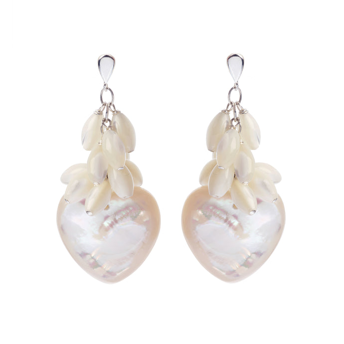 Pearl cluster long earrings with white Mother of Pearl domes heart drops.