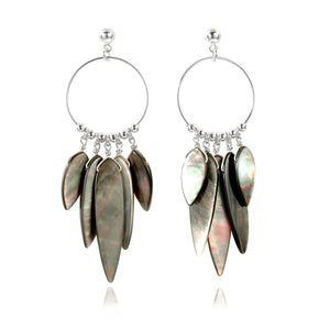 Black Mother of Pearl chandelier earrings (4120134975574)