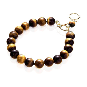 Tiger's eye bracelet with gold filled clasp