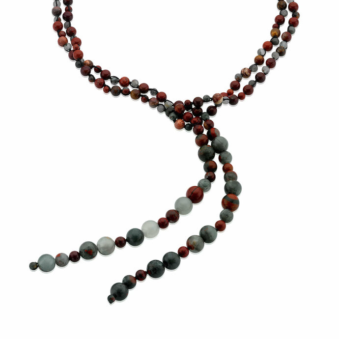 A long necklace of cabochon cut red Apple and green African Jasper gemstones. (582356205579)