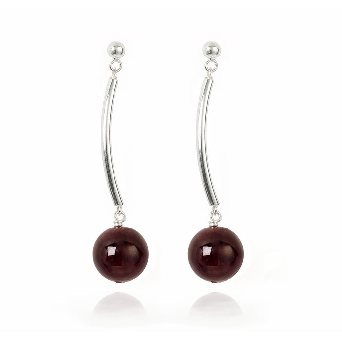 Garnet long drop earrings (4055059890262)