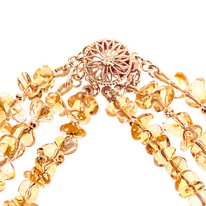 Gold and citrine stone necklace (4124220260438)