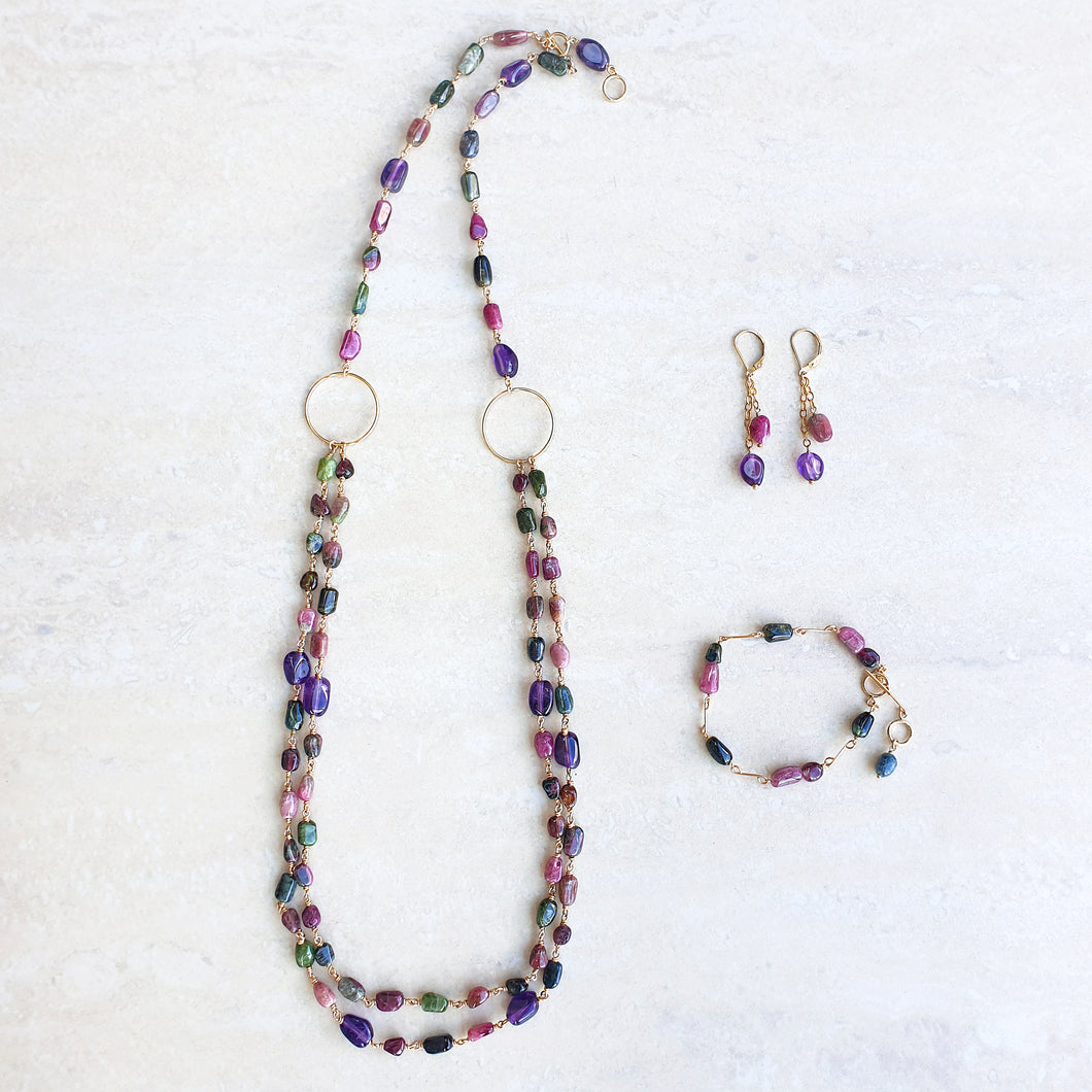 Melissa jewellery set - Amethyst and Tourmalines necklace and earrings and bracelet