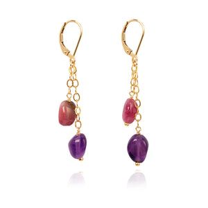 Tourmaline earrings - long drop earrings (4054907748438)