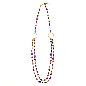 Colourful Tourmaline long necklace with Gold filled hoops and clasp. (4050324455510)