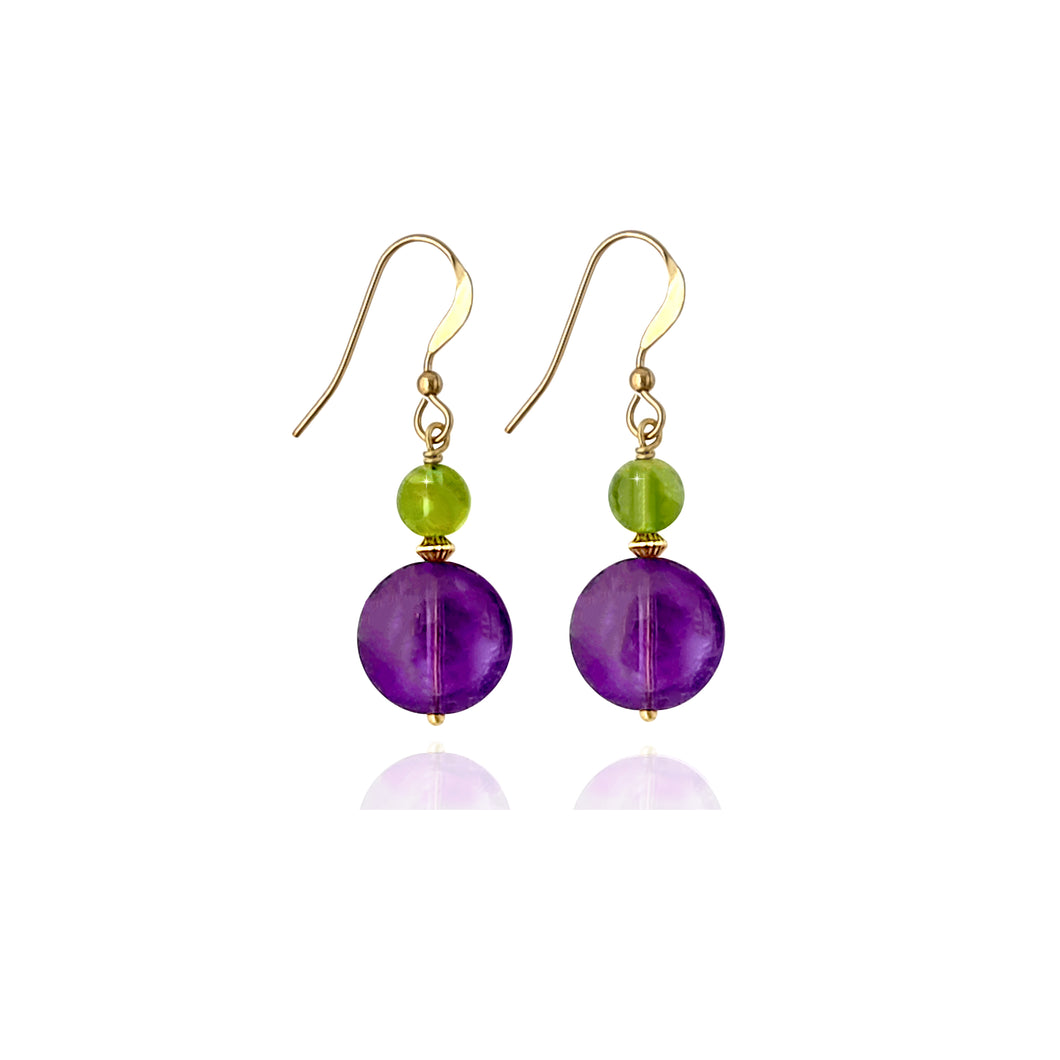Mila - 14K Gold filled, Peridot and Amethyst earrings
