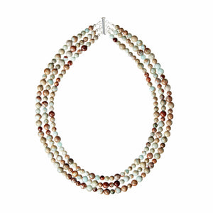A three row statement necklace of high quality Impression Jasper gemstones and 925 Sterling Silver bar clasp. (582389760011)